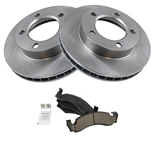 Front Ceramic Brake Pad Set & 2 Rotors Kit For...