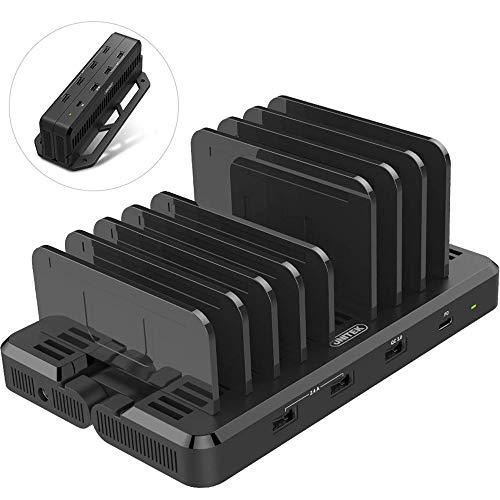 Unitek USB-laadstation 7 poorten met wandbevestiging/USB-oplader met dockingstation/organizer voor smartphone, tablet / 1x QC 3.0 120 W / 1x USB type C/Universal Y-PW10012
