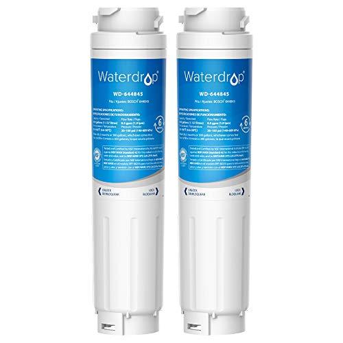 Waterdrop 2X 644845 Fridge Water Filter, Compatible with Bosch UltraClarity 644845 REPLFLTR10 00740560 9000194412 9000077104 Neff Gaggenau Miele/Haier 0060820860 0060218743 Rangemaster DXD 90170