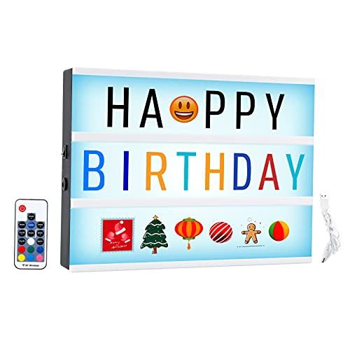 Invdely Caja de Luz con Letras, Light Box con 452 Emoji y Símbolos, Ideal para Decorar Hogar, Boda, Regalo para Navidad, Cumpleaños
