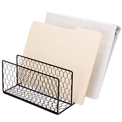 Chicken Wire File Folder Organizer, Desktop 3-Slot Mail Sorter, Black Metal