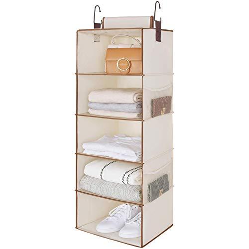 "StorageWorks 5-Shelf Jumbo Hanging Closet Organizer, Hanging Shelves for Closet, Canvas, Ivory White, 15""W x 13""D x 42.5""H"