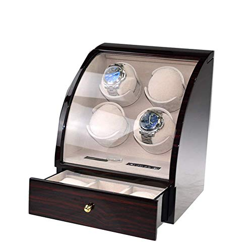KAIBINY Caja de Reloj Quad automática Watch Winder, Shaker Caja de Reloj mecánico automático, Control avanzado y silencioso del Motor, Pantalla LCD táctil Digital de visualización, 3 almacenaje de l