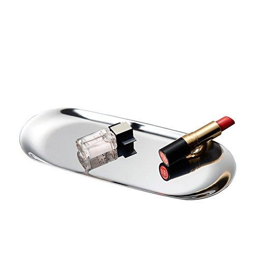 IMEEA Vanity vassoio organizzatore vassoio in acciaio INOX per cucina bagno (22,9x 9,4cm) Silver