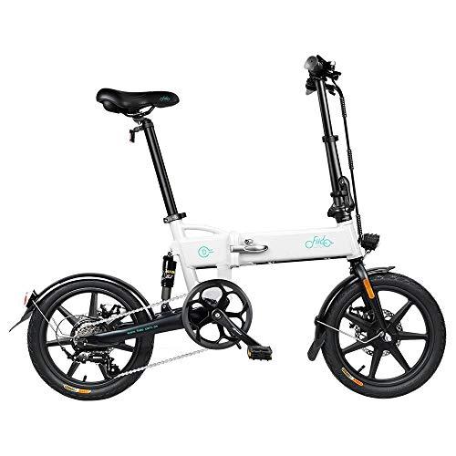 FIIDO D2S Bici Elettrica Pieghevole con Pedali, Lega di Alluminio con Sella, 16 Pollici Pneumatici Gonfiabili in Gomma, velocità Massima 25km/h, Batteria 36V 7.8Ah, 3 modalità per Guida (Bianco)