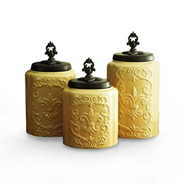 American Atelier Canisters, Cream Antique, Set of 3