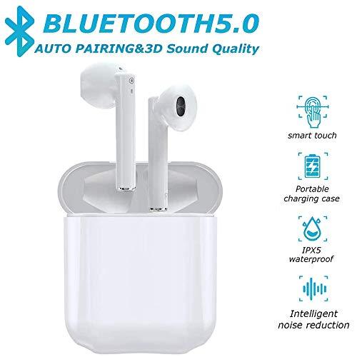 Auricolare Bluetooth 5.0 Senza Fili,Cuffie Wireless Stereo 3D with IPX5 Impermeabile,Accoppiamento Automatico Per Chiamate Binaurali,compatibile Per Samsung/Phone/Android/Huawei