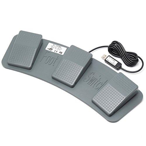 ルートアール メカニカルスイッチ搭載 USBフットペダルスイッチ 3ペダル グレー RI-FP3MG