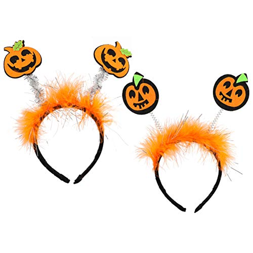 Lurrose 2 Pcs Bandeaux D'halloween Bandeaux de Citrouille Drôle Tête Boppers pour Halloween Costume Cosplay Party Orange