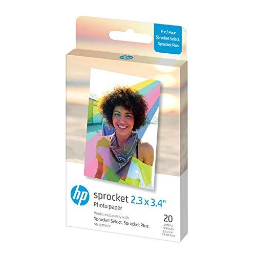 HP ZINK S2 Papier Photo (20 feuilles, 5,8 x 8,7 cm, dos autocollant) pour Sprocket Plus