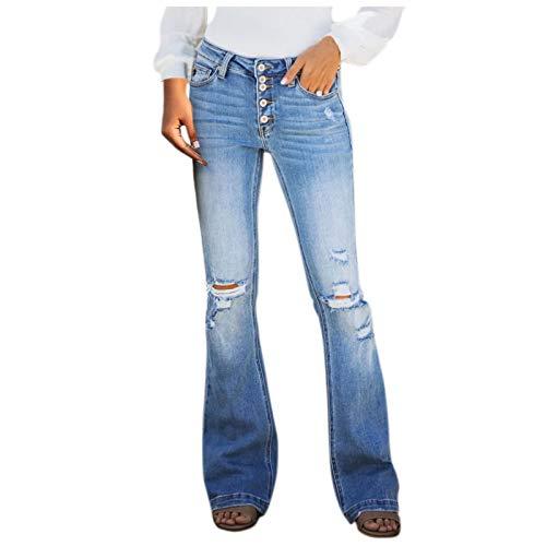 Ghemdilmn Damen Stretch Denim Flare Jeans High Waist Buttons Jeanshose Schlaghosen Hohe Taille Skinny Jeans Lange Hosen Ripped Wide Leg Jeans