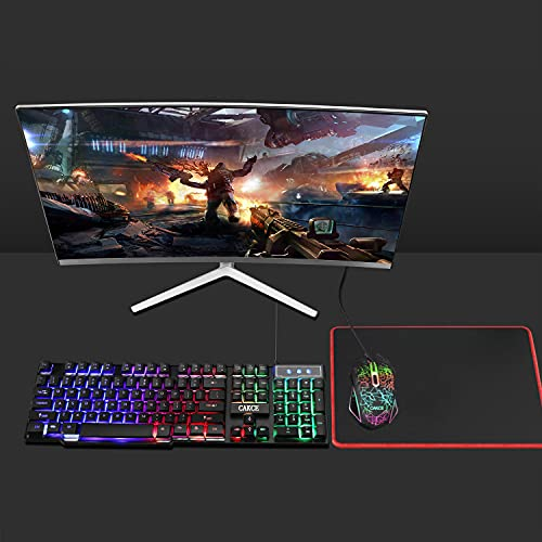RGB Gaming Keyboard and Colorful Mouse Combo,USB Wired LED Backlight Gaming Mouse and Keyboard for Laptop PC Computer Gaming and Work,Letter Glow,Mechanical Feeling