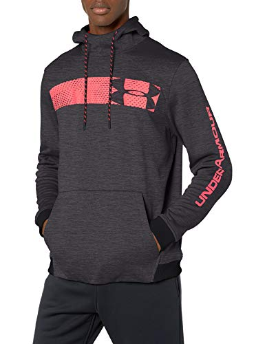 Under Armour Armour Fleece Pullover Hoodie bar Logo Graphic, Black//Beta Red, X-Large