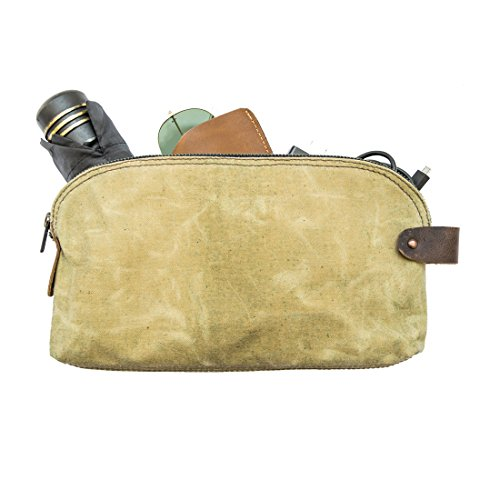 Waterproof Waxed Canvas Large All Purpose Dopp Kit Utility Bag With Interior Leather Edge Lining Handmade by Hide & Drink