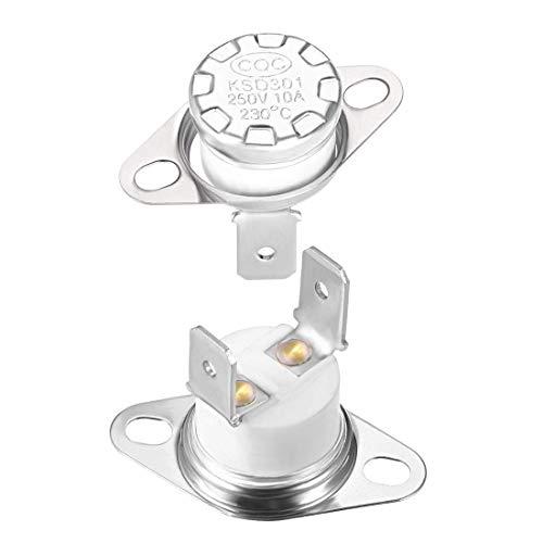 KSD301 Thermostat, 230 °C / 10 A, normal geschlossen, N.C, einstellbar, Schalter für Scheibenbegrenzung, Thermoschalter, 2 Stück