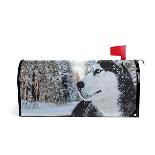 Hunihuni Magnetische Briefkasten-Abdeckung, süßes Tier Husky Hund Briefkasten-Wrap-Dekoration