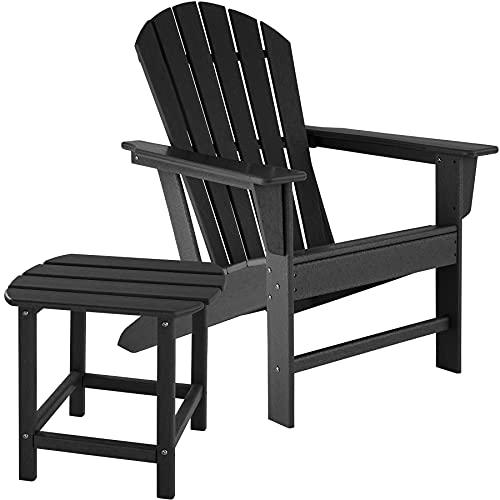 tectake 800908 Adirondack Gartenstuhl mit Beistelltisch, Holzoptik, Gartensessel mit Breiten Armlehnen und Tisch, für Garten, Terrasse und Balkon, wetterfest (Schwarz)