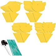 Whaline 48 Pcs Yellow Sticky Fly Traps Dual-Sided Fly Catcher Plastic Bug Insect Gnat Traps Disposable Sticky Board for Mosquitos Fungus Gnats, Flying Aphid, Whiteflies, Leaf Miners, 4 design