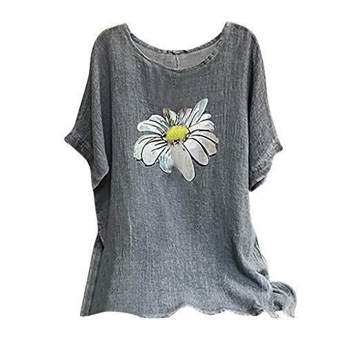 Andouy Damen Modisch Bedrucktes T-Shirt Lässige Lose O-Ausschnitt Kurzarm Tops Bluse...