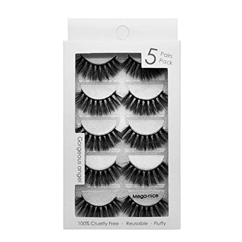 Prettygood Faux Lashes, Eyelashes, False Eyelashes, 5 Pairs Imitation Mink 3D False Eyelashes Makeup Extension (Mega-nice)