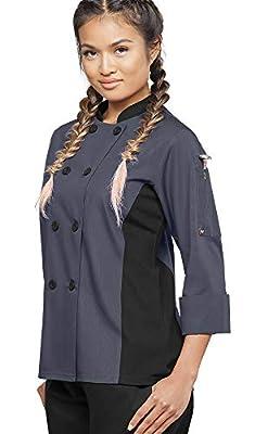 Women's 3/4 Sleeve Chef Coat Mesh Side Panels (XS-3X, 4 Colors)