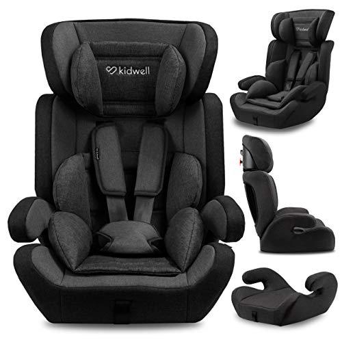 KIDWELL MAVI Autositz Kindersitz 9-36 kg | Autositzerhöhung | 8 Monate-11 Jahren | Gruppe 1/2/3 | 46 x 64 cm | mit 5-Punkt-Gurtsystem | verstellbare Kopfstütze| stabil & sicher | Schwarz