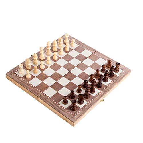 LIOOBO 1 Juego de Ajedrez de Madera Juego de Ajedrez Portátil Juego de Backgammon Juguetes de Inteligencia para Adultos Hogar Escolar (Caqui)