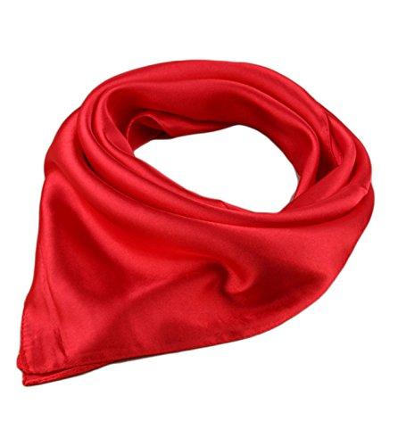 Unisexo Versátil Color Sólido 45% seda Bandana Pañuelo para la cabeza Fulares Bufanda de Cuello (Rojo)