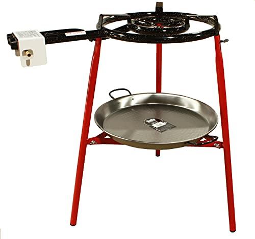 Kit Paellero 40 cm Gas butano, paellera acero pulido de 46 cm, regulador de Gas + 1,5 metros de Manguera, soporte de 3 Patas reforzadas,