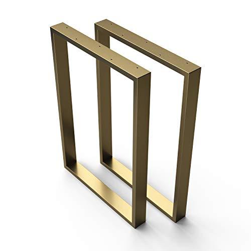 sossai® Stahl Tischkufen   GOLD MESSING   2 Stück   Tischgestell   Breite 60 cm x Höhe 72 cm   TKK1   pulverbeschichtet