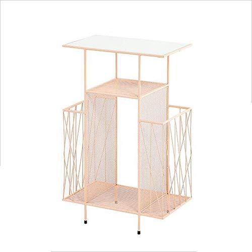 YNN Table Table Basse/Bureau Tablettes Modernes pour revues Support Multicouche créatif Support de Table/Bureau en Verre au Sol en Verre (Noir, Or, Rose) (Couleur : Pink)