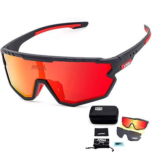 TOPTETN Sportbrille Fahrradbrille Herren und Damen,3 Austauschbare Linse Sportbrille für Outdooraktivitäten wie Radfahren Laufen Angeln Klettern Radsport Brillen(Schwarz rot)
