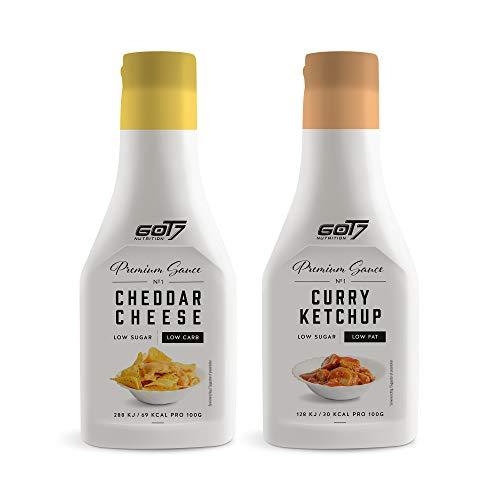 Got7 Premium Sauce - Kalorienfreie Grill, Burger und Würz Sauce - Perfekt zum Abnehmen - 285 ml (Curry Ketchup & Cheddar Cheese, 2x 285ml)