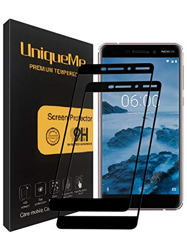 UniqueMe Compatible with [2 Stück] Nokia 6.1 / Nokia 6 2018 Schutzfolie, Nokia 6.1 (2018) Panzerglas, Full Cover Gehärtetem Glas Hartglas Bildschirmschutzfolie mit Lebenslange Ersatzgarantie - Schwarz
