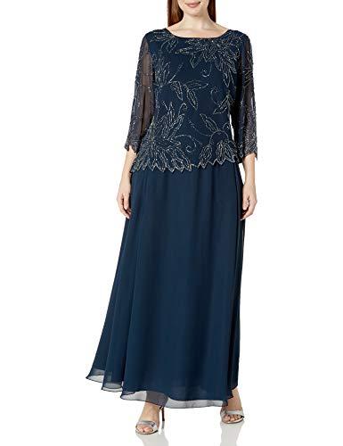 J Kara Women's Plus Size Sheer Sleeve Floral Beaded Long Dress, Navy/Luster/Grey, 24W