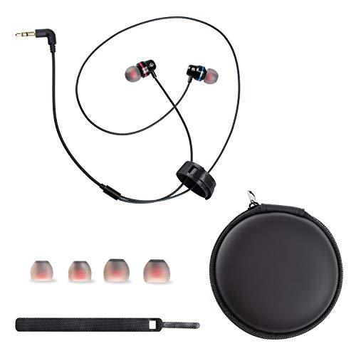NEWZEROL Kompatibel für Oculus Quest Kopfhörer VR Headset, 2 Pack In-Ear Ohrhörer Geflochtene Metallkopfhörer und Kopfhörer Tasche Kopfhörer zubehörmit Aufbewahrungstasche mit Schwarz