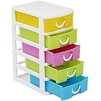 com-four® Cajón con Cinco cajones para Accesorios de artesanía - útil Organizador de Oficina con cajones - cajones de artesanía - para Escritorio, baño (001 Piezas - contenedores de Almacenamiento)