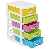 com-four® Schubladen-Box mit fünf Schubladen für Bastel-Zubehör - Nützlicher Büro-Organizer mit Schubladen - Bastelschubladen - Für Schreibtisch, Bad, Küche