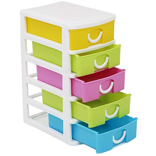 com-four® Cajón con Cinco Cajones para Accesorios de Bricolaje - Útil Organizador de Oficina con Cajones - Cajones de Artesanía - para Escritorio, Baño
