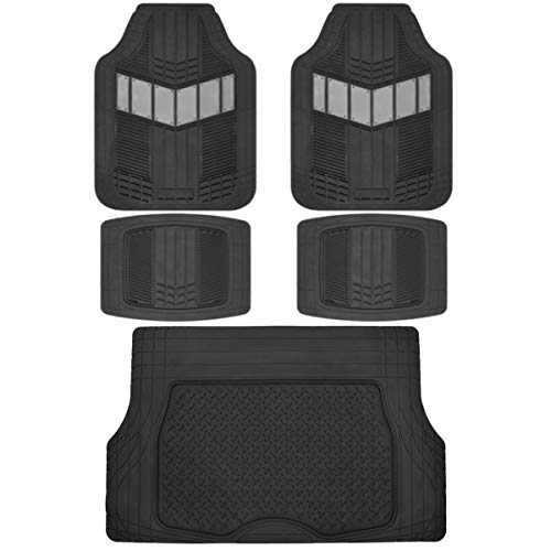 Motor Trend DualFlex Heavy Duty Rubber Auto Car Floor Mats w/Cargo Trunk Liner Cover Padding