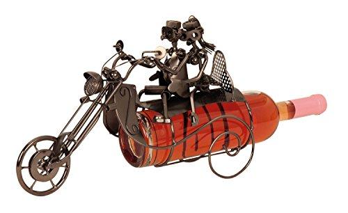 Extravaganter Wein Flaschenhalter Motorrad mit Paar aus Metall Höhe 23 cm Breite 36 cm