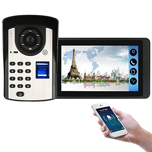 Timbre con video wifi, intercomunicador, kit de teléfono con videoportero, cámara de visión nocturna + monitor de 7 pulgadas, desbloqueo de la APP con contraseña de huellas dactilares
