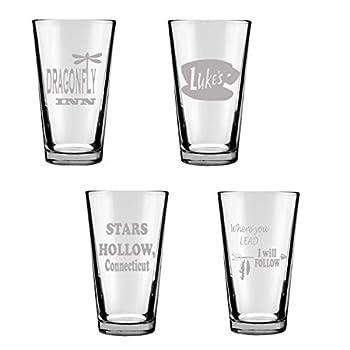 Gilmore Girls Inspired Drinking Glasses Engraved Gilmore Girls Gift Set of 4 Pint Glassware  Stars Hollow Duke s Where You Lead I Will Follow Dragonfly Inn