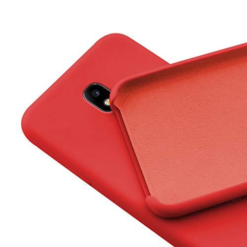 N NEWTOP Custodia Cover Compatibile per Samsung Galaxy J3 2017, Ori Case Guscio TPU Silicone Semi Rigido Colori Microfibra Interna Morbida (Rossa)