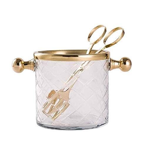 YANGYUAN Cubo de Hielo de Vidrio, Cubo de Hielo de champán con Mango y Clip, Adecuado para Fiestas, Bodas o Bares Familiares más Fresco