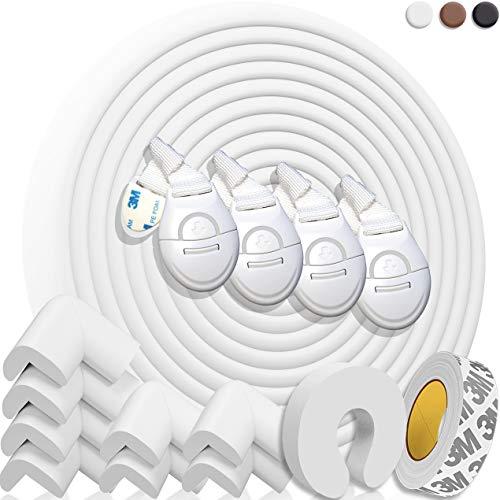 HAPPY CHLEA® Kantenschutz Baby und 8 Eckenschutz aus Schaumstoff. Tischkantenschutz und Eckenschützer: 6,4 M...