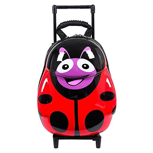 Maleta con Ruedas para niños Mochila Escolar para niños Mochila de Viaje para niños Equipaje Maleta de Dibujos Animados Mochila con Ruedas para niñas, Ladybug