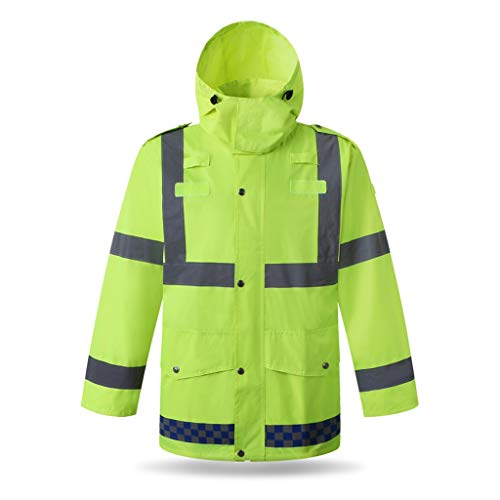 Beveiliging Veiligheid Vesten Reflecterende regenjas bouwkunde Fluorescent Yellow Water Proof Coat Sanitation Veiligheid Patrol winddicht Werkkleding XMJ (Size : XL)