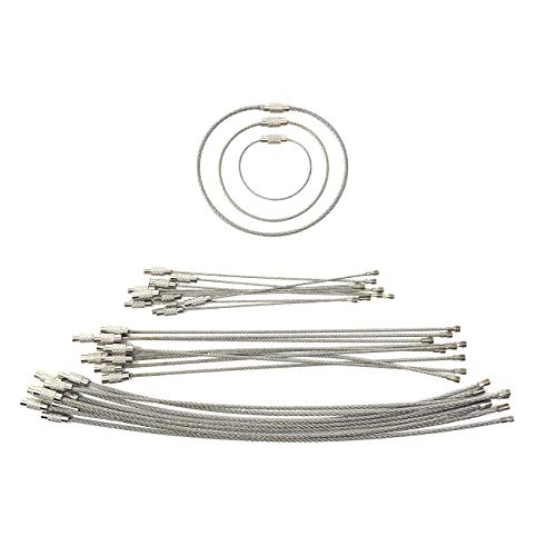 30 Pack Wire Cable Keychain Rings - 3 Most Useful Sizes - Stainless Steel Key Ring Loops