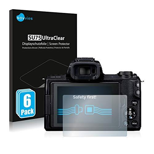 savvies Protector Pantalla Compatible con Canon EOS M50 (6 Unidades) Película Ultra Transparente